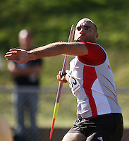 France's Mathieu Roulet competes in the men's javelin during day two of the National athletics championships at Newtown Park, Wellington, New Zealand on Saturday, 28 March 2009. Photo: Dave Lintott / lintottphoto.co.nz