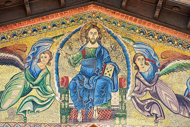 Close up of the 13th century Byzantine Mosaic panel depicting Christ Pantocrator with angels on the Basilica of San Frediano, a Romanesque church, Lucca, Tunscany, Italy