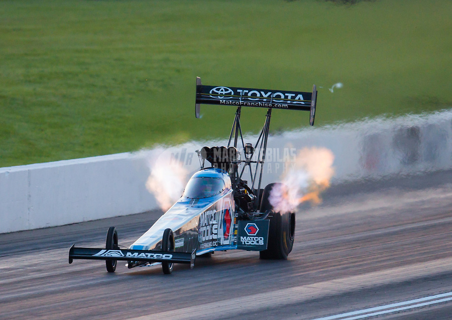 Jun 7, 2019; Topeka, KS, USA; NHRA top fuel driver Antron Brown during qualifying for the Heartland Nationals at Heartland Motorsports Park. Mandatory Credit: Mark J. Rebilas-USA TODAY Sports