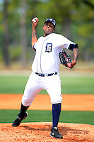 Detroit Tigers pitcher Wilsen Palacios #35 during a minor league Spring Training game against the Washington Nationals at Tiger Town on March 22, 2013 in Lakeland, Florida.  (Mike Janes/Four Seam Images)