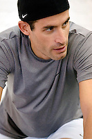 Discovery Channel Pro Cycling Team racer George Hincapie works out at Peak Performance Adventure Gym. Long successful in the European classics, in addition to being Lance Armstrong's right hand man on the team, Hincapie took his first Tour de France stage win in 2005.<br />