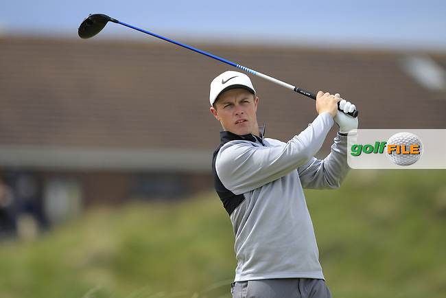 Conor Purcell (Portmarnock) on the 5th tee during Round 1 of the The Amateur Championship 2019 at The Island Golf Club, Co. Dublin on Monday 17th June 2019.<br /> Picture:  Thos Caffrey / Golffile<br /> <br /> All photo usage must carry mandatory copyright credit (© Golffile | Thos Caffrey)