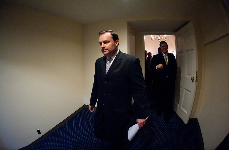 UNITED STATES - JULY 21: Sen. Mike Lee, R-Utah, leads Senate and House Republicans to the Senate Radio-TV Gallery studio for their news conference to call on the Senate to pass the cut, cap and balance bill on July 21, 2011. (Photo By Bill Clark/Roll Call)