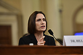 Dr. Fiona Hill, former Senior Director for Europe and Russia, National Security Council (NSC), testifies during the US House Permanent Select Committee on Intelligence public hearing as they investigate the impeachment of US President Donald J. Trump on Capitol Hill in Washington, DC on Thursday, November 21, 2019.<br /> Credit: Ron Sachs / CNP<br /> (RESTRICTION: NO New York or New Jersey Newspapers or newspapers within a 75 mile radius of New York City)