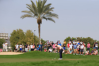 Thorbjorn Olesen (DEN) on the 1st green during Round 2 of the Omega Dubai Desert Classic, Emirates Golf Club, Dubai,  United Arab Emirates. 25/01/2019<br /> Picture: Golffile | Thos Caffrey<br /> <br /> <br /> All photo usage must carry mandatory copyright credit (© Golffile | Thos Caffrey)