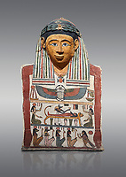 Ancient Egyptian cartonnage mummy mask with mummification scene, Pyolemaic Period, (332-30BC),  Egyptian Museum, Turin. Cat 2250. Grey background