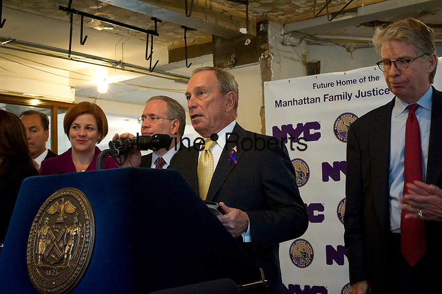 NY Mayor Mike Bloomberg announces the start of construction of the fourth New York City Family Justice Center in New York, on Wednesday, October 24, 2012.  The center will be a one-stop service center for Manhattan's domestic violence victims. © Frances M. Roberts)