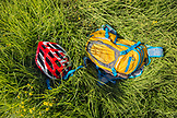 USA, Hawaii, The Big Island, mountain bike gear in the grass on Mana Road at the base of the Kiluea volcano