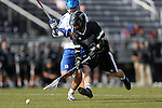 12 February 2017: CSU's Danny Tesler (5) is chased by Duke's Teddy Henderson (behind). The Duke University Blue Devils hosted the Cleveland State University Vikings at Koskinen Stadium in Durham, North Carolina in a 2017 Division I College Men's Lacrosse match. Duke won the game 22-7 in overtime.