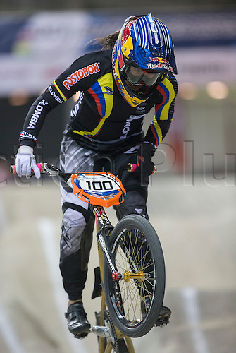 18.04.2015. Manchester, England. UCI BMX Supercross World Cup. Day One.  Mariana Pajon (COL) (2014 World Champion and 2012 Olympic Champion) during her winning Womens Elite Time Trial race.