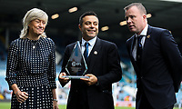 Leeds United owner Andrea Radrizzani and CEO Angus Kinnear accept a trophy from the EFL, celebrating the club's 100th year<br /> <br /> Photographer Alex Dodd/CameraSport<br /> <br /> The EFL Sky Bet Championship - Leeds United v Birmingham City - Saturday 19th October 2019 - Elland Road - Leeds<br /> <br /> World Copyright © 2019 CameraSport. All rights reserved. 43 Linden Ave. Countesthorpe. Leicester. England. LE8 5PG - Tel: +44 (0) 116 277 4147 - admin@camerasport.com - www.camerasport.com