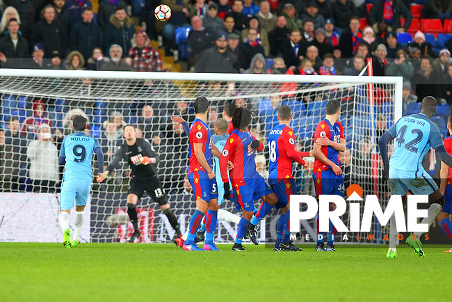Manchester City's Yaya Toure scores the 3rd goal from a free kick during the FA Cup fourth round match between Crystal Palace and Manchester City at Selhurst Park, London, England on 28 January 2017. Photo by PRiME Media Images / Steve McCarthy.
