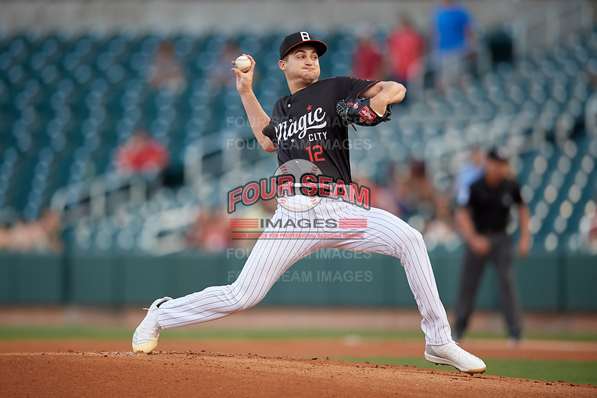 Birmingham Barons starting pitcher Jimmy Lambert (12) during a Southern League game against the Chattanooga Lookouts on May 2, 2019 at Regions Field in Birmingham, Alabama.  Birmingham defeated Chattanooga 4-2.  (Mike Janes/Four Seam Images)