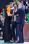 Real Madrid coach Pablo Laso and Panathinaikos coach Xavi Pascual talking with referee during Turkish Airlines Euroleague Quarter Finals 4th match between Real Madrid and Panathinaikos at Wizink Center in Madrid, Spain. April 27, 2018. (ALTERPHOTOS/Borja B.Hojas)