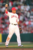 Erick Aybar #2 of the Los Angeles Angels during game against the Atlanta Braves at Angel Stadium in Anaheim,California on May 21, 2011. Photo by Larry Goren/Four Seam Images