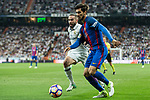 Andre Gomes of FC Barcelona competes for the ball with Daniel Carvajal of Real Madrid during the match of La Liga between Real Madrid and Futbol Club Barcelona at Santiago Bernabeu Stadium  in Madrid, Spain. April 23, 2017. (ALTERPHOTOS)