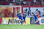Suwon Midfielder Yeom Ki Hun (R) celebrating his goal with his teammates during the AFC Champions League 2017 Group G match between Guangzhou Evergrande FC (CHN) vs Suwon Samsung Bluewings (KOR) at the Tianhe Stadium on 09 May 2017 in Guangzhou, China. Photo by Yu Chun Christopher Wong / Power Sport Images