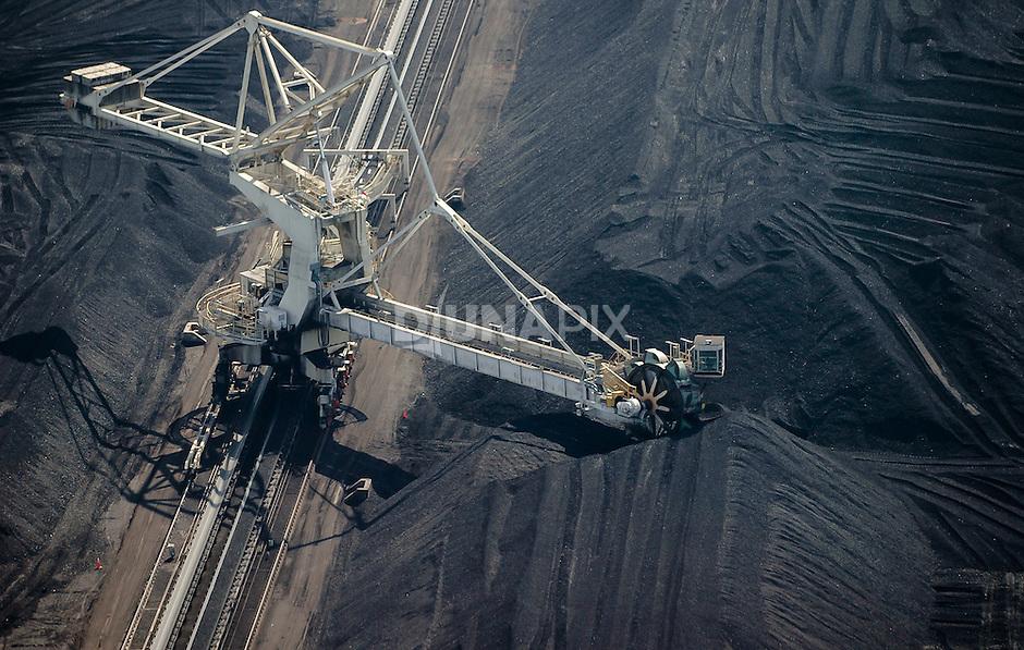 Aerial view of a Kaltim Prima Coal stockyard near Sanggata, East Kalimantan, Borneo