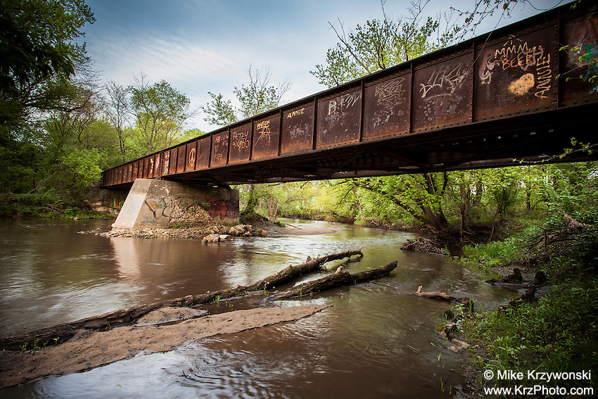 Old abandoned railroad bridge in Cedar Rapids, IA