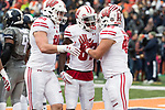 Wisconsin Badgers teammates Zander Neuville (85) and Quintez Cephus (87) celebrate a rushing touchdown by running back Alec Ingold (45) during an NCAA College Big Ten Conference football game against the Illinois Fighting Illini Saturday, October 28, 2017, in Champaign, Illinois. The Badgers won 24-10. (Photo by David Stluka)