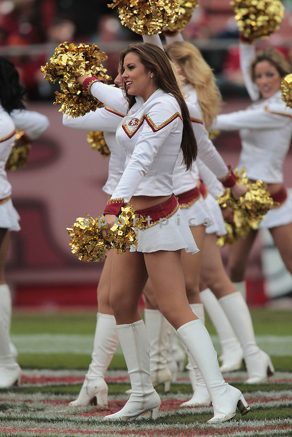 CHEERLEADERS, of the San Francisco 49ers in action durIng the 49ers game against the Arizona Cardinals at Candlestick Park on January 2, 2011 in San Francisco, California.. .49ers beat the Cardinals 38-7