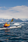 Alaska, Prince William Sound, Sea kayaker, brash ice, Columbia Bay, Columbia Glacier, USA