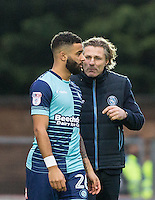 Wycombe Wanderers Manager Gareth Ainsworth chats to Alex Jakubiak of Wycombe Wanderers as he is brought on during the Sky Bet League 2 match between Wycombe Wanderers and Crawley Town at Adams Park, High Wycombe, England on 25 February 2017. Photo by Andy Rowland / PRiME Media Images.