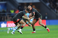 Emiliano Boffelli of Argentina is tackled by Anthony Watson and Mike Brown of England during the Old Mutual Wealth Series match between England and Argentina at Twickenham Stadium on Saturday 11th November 2017 (Photo by Rob Munro/Stewart Communications)