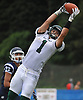 Jeremy Ruckert #1, Lindenhurst tight end, reels in a pass for a 14-yard touchdown during the third quarter of a Suffolk County Division I varsity football game against Northport at Glenn High School on Saturday, Sept. 2, 2017. The Ohio State-bound senior added a 39-yard touchdown reception and a sack on defense in Lindenhurst's 31-7 win.