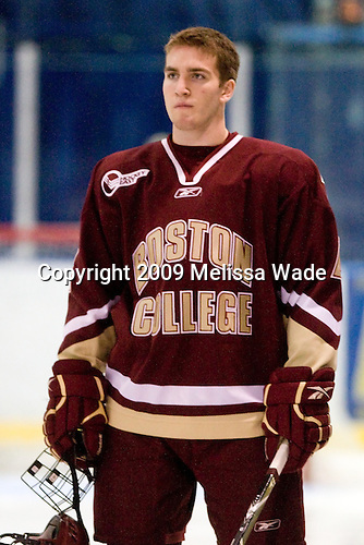 Patrick Wey (BC - 6) - The Merrimack College Warriors defeated the Boston College Eagles 5-3 on Sunday, November 1, 2009, at Lawler Arena in North Andover, Massachusetts splitting the weekend series.