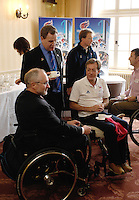 Queens Club, GREAT BRITAIN,  left to right,  Sir Philip CRAVEN, Mike BRACE and John CAVANAGH, chat before  the  press Conference to announce the joint initiative between British Paralympic Association and Deloitte  of 'www.Parasport.org.uk' online information service, on Thur's.  03.05.2007. London. [Credit: Peter Spurrier/Intersport Images]