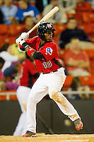 Jurickson Profar #10 of the Hickory Crawdads at bat against the Augusta GreenJackets at L.P. Frans Stadium on April 29, 2011 in Hickory, North Carolina.   Photo by Brian Westerholt / Four Seam Images