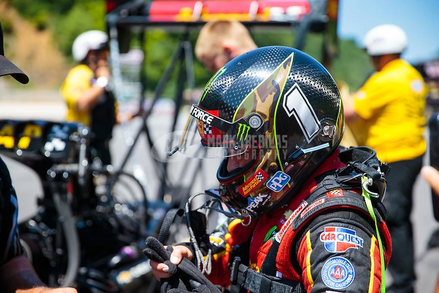 Jun 16, 2018; Bristol, TN, USA; NHRA top fuel driver Brittany Force during qualifying for the Thunder Valley Nationals at Bristol Dragway. Mandatory Credit: Mark J. Rebilas-USA TODAY Sports