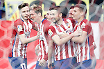 Atletico de Madrid's Saul Niguez, Fernando Torres, Koke Resurrecccion, Gabi Fernandez, Oliver Torres, Jesus Gamez and Lucas Hernandez celebrate goal during La Liga match. February 6,2016. (ALTERPHOTOS/Acero)