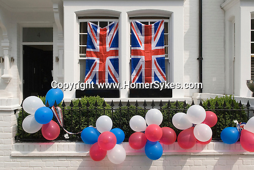 Royal Wedding Street Party. Bunting exterior Chelsea London April 29 2011 <br /> Prince William Kate Middleton Princess Catherine