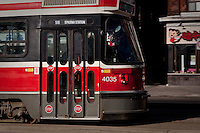 A TTC streetcar is pictured  April 19, 2010. The Toronto streetcar system is operated by the Toronto Transit Commission (TTC), the municipal public transit operator.