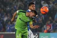 BOGOTA -COLOMBIA, 28-02-2017. Jacobo Kouffatty (L) player of Millonarios  fights for the ball with Stalin Motta (R) player of Equidad during match for the date 6 of the Aguila League I 2017 played at Nemesio Camacho El Campin stadium . Photo:VizzorImage / Felipe Caicedo  / Staff