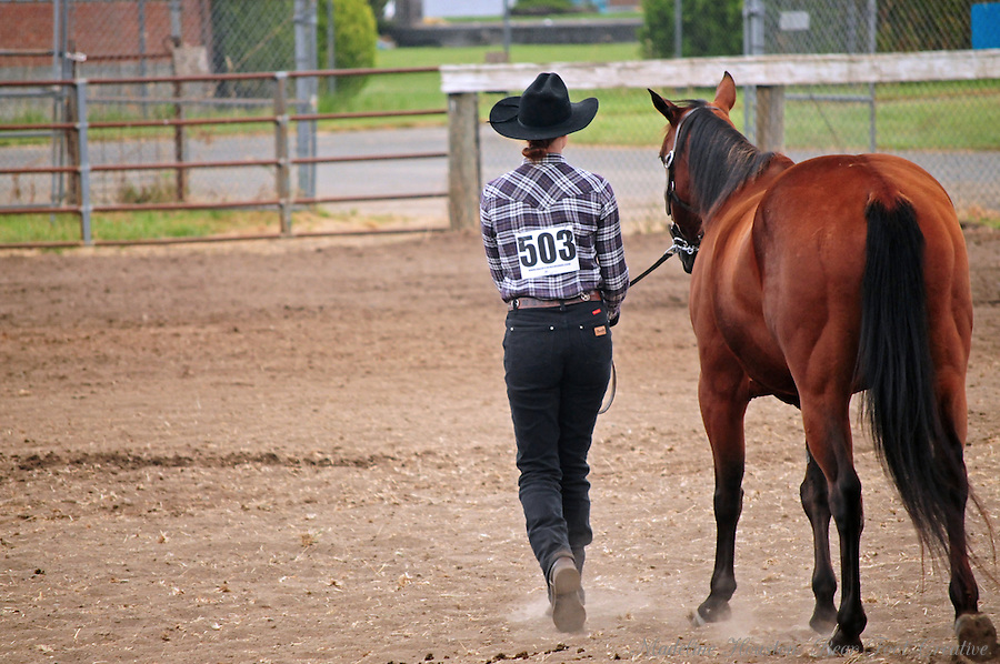A young woman in a plaid shirt and cowboy walks away with her horse after her turn in front of the judges.