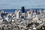"""Downtown"" San Francisco, California.  A view of ""the City"" from a hill at the end of Market Street."