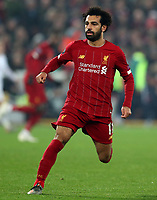 5th November 2019; Anfield, Liverpool, Merseyside, England; UEFA Champions League Football, Liverpool versus Genk; Mohammed Salah of Liverpool chases after  pass  - Editorial Use