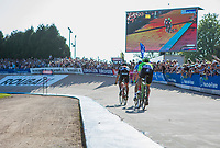 Greg Van Avermaet (BEL/BMC) leading a trio into the V&eacute;lodrome of Roubaix. <br /> <br /> 115th Paris-Roubaix 2017 (1.UWT)<br /> One day race: Compi&egrave;gne &gt; Roubaix (257km)