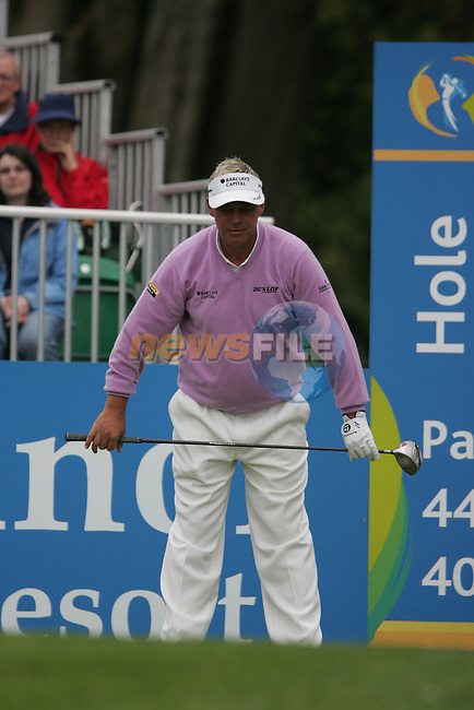 Darren Clarke warms up before teeing off on the 1st hole during the third round of the 2008 Irish Open at Adare Manor Golf Resort, Adare,Co.Limerick, Ireland 17th May 2008 (Photo by Eoin Clarke/GOLFFILE)