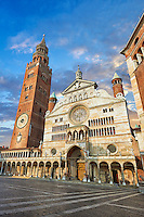 Facade of the Romanesque Cathedral of Cremona, begun 1107, with later Gothic, Renaissance & Baroque elements, Cremona, Lombardy, northern Italy