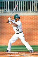 Leland Clemmons (12) of the Charlotte 49ers at bat against the Delaware State Hornets at Robert and Mariam Hayes Stadium on February 15, 2013 in Charlotte, North Carolina.  The 49ers defeated the Hornets 13-7.  (Brian Westerholt/Four Seam Images)