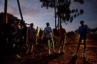 Wilson Kipsang, who ran the 2011 Frankfurt marathon in 2:03:42,  just 4 seconds off the world record, trains with a group of athletes from 6 am each day in Iten Kenya. Iten, famous for it's world champion runners and its high-altitude trianing, is fast becoming a destination for international athletes who want to train  with the best of the best.
