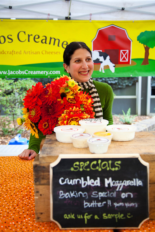 The Portland Farmers' Market in the South Park Blocks on Saturday mornings.  Jacobs Creamery features handcrafted artisan cheeses along with fresh butter, eggs and other dairy products.  Lisa Jacobs is the owner and cheesemaker.