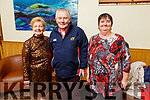 Ann Normoyle, John Connelly and Mary Mahony attending the Kilflynn/Abbeydorney Active Christmas Party in the Ballroe Heights Hotel on Dunday.