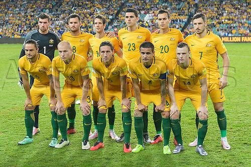 29.03.2016. Allianz Stadium, Sydney, Australia. Football 2018 World Cup Qualification match Australia versus Jordan. The teams shake hands pre-game. Australia won 5-1.