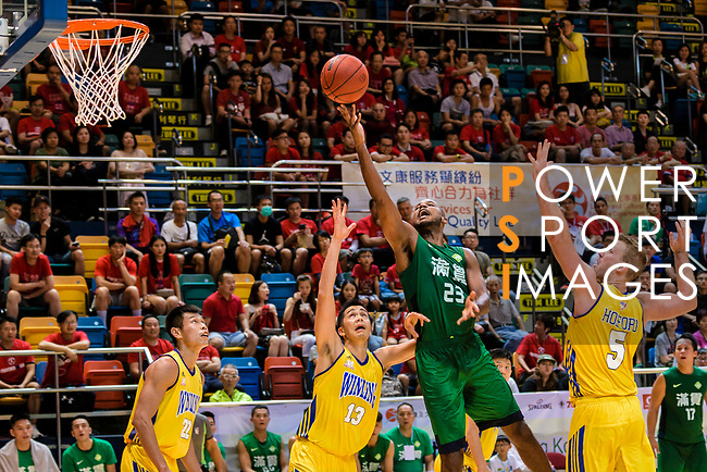 Austin Bryant M #23 of Tycoon Basketball Team tries to score against the Winling during the Hong Kong Basketball League playoff game between Winling and Tycoon at Queen Elizabeth Stadium on July 24, 2018 in Hong Kong. Photo by Marcio Rodrigo Machado / Power Sport Images