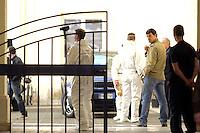 Roma, 14 Maggio 2012.Piazza Sant'Apollinare.Aperta la tomba di Enrico De Pedis detto Renatino boss della Banda della Magliana..La polizia scientifica